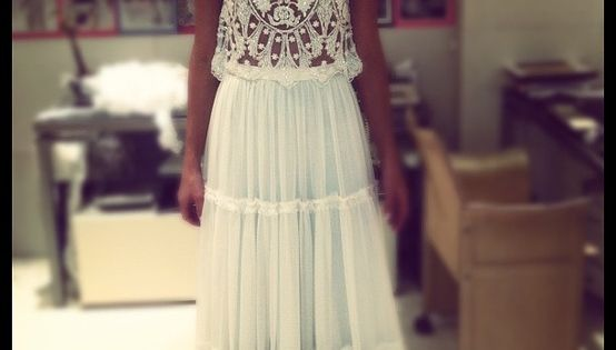 Adorable half white lace maxi dress fashion... to see more click on