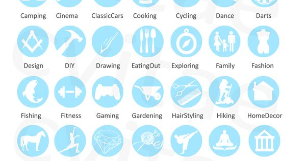 interest  u0026 activity icons for infographic cv resume by