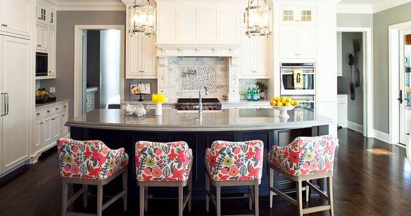 Lively fabric enhances these kitchen bar stools 18 Stylish Bar