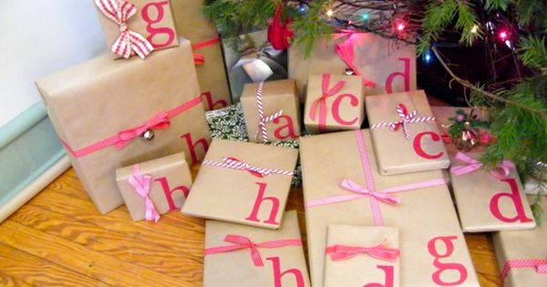 Brown wrapping paper + Initials