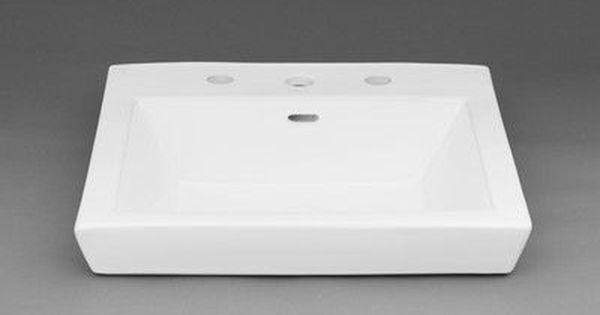 Ronbow Square Tapered Ceramic Semi Recessed Vessel Bathroom Sink