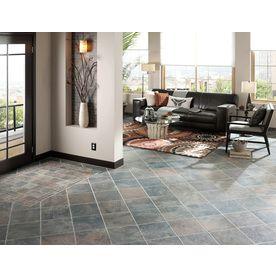 Style Selections Aspen Sunset 12 In X 12 In Glazed Porcelain Slate Tile Lowes Com Flooring Outdoor Tiles Floor Floor Design