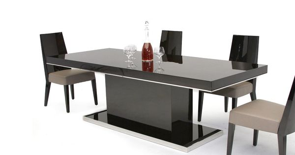 Noble modern ebony lacquer dining table contemporary for Mirror 72x36