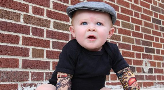 BEST BOY ONESIE EVER?! Black Heartbreaker tattoo sleeve onesie by Thetattoodtyke, $25.00.