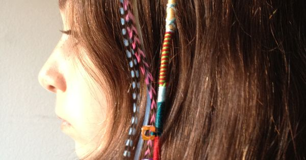 Hair wrap with friendship bracelet string, next to hair ...