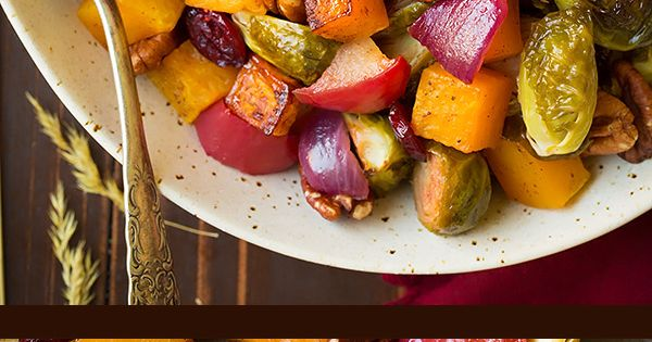 autumn roasted veggies with apples and pecans   cooking