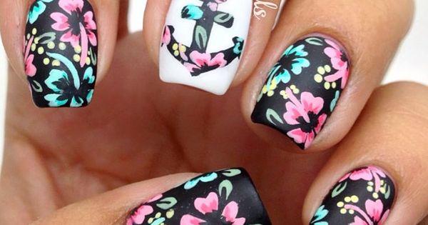 Flower Nail Art, anchor, floral nail art, floral print, black, pink, nail