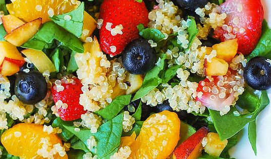 Quinoa salad with spinach, strawberries, and blueberries | Recipe ...
