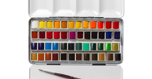 Sennelier Watercolour Paint Classic Metal Tin Set Of 48 Half