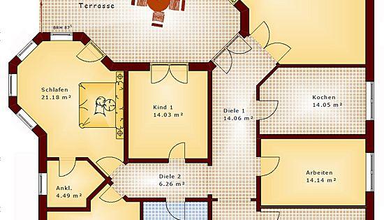 Winkelbungalow 167 mit 2 erkern einfamilienhaus neubau for Optimaler grundriss einfamilienhaus