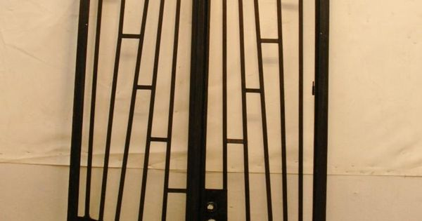 Art Deco French Wrought Iron Gate With Frame Transom For