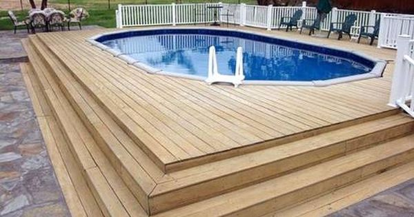 Nice way to add an inexpensive above ground pool. Idea for next