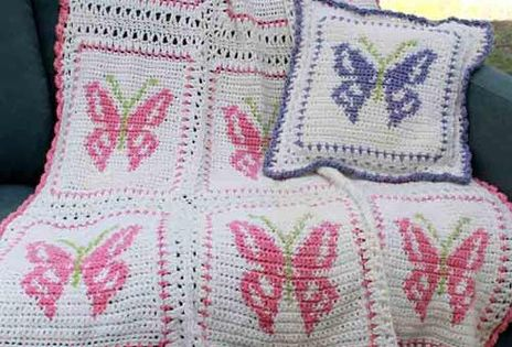 Butterfly Afghan And Pillow Set Crochet Pattern Afghans
