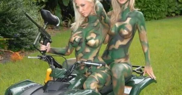 Final, paintball girls in camo body paint are not