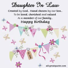 Daughter In Law Created By God Hand Chosen By Our Son To Be Loved