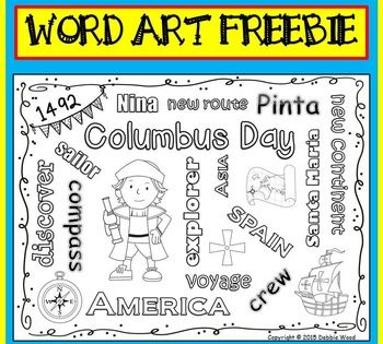 Columbus Day Vocabulary Freebie Word Art Fun New Vocabulary Words Word Art Vocabulary