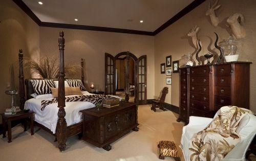Paint Savanna Bed Brown Dark Wood Trim Zebra Plant Behind Bed Tan Walls Add A Red Accent