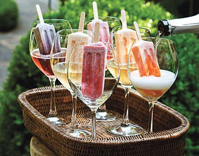 popsicles in champagne. uh oh!