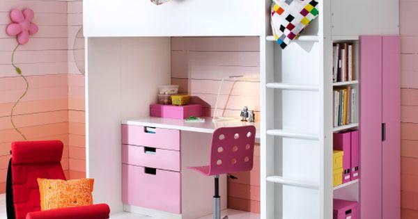 Chambre d 39 enfant avec lit bureau et rangement tout en un - Chambre toute rose ...