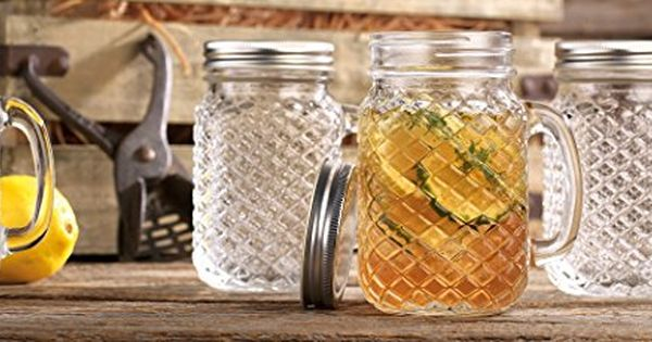Home Essentials Beyond 5814 16 Oz Mason Diamond Handled Drinking Jars With Lid Drinking Jars Mason Jar