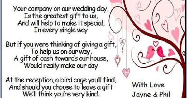 Pack Of 50 Wedding Poem Cards Asking Guests For Money