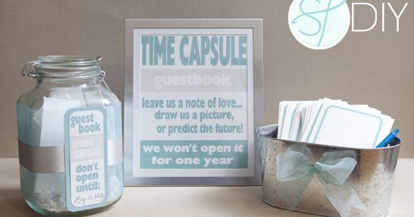 Totally cute DIY wedding guestbook idea: time capsule!