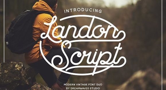 Landon Script font duo. Two sets of edgy handwritten fonts (script and sans serif) with a modern vintage touch