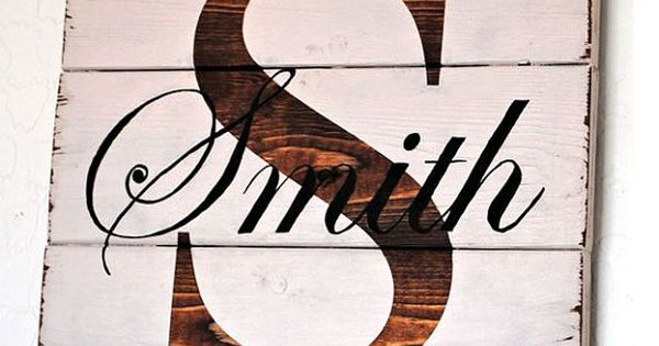 Rustic Distressed Pallet Wood Personalized Family Sign with Family Initial and Last