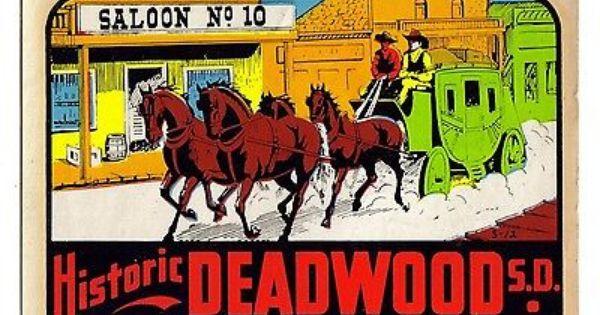 Vintage Deadwood South Dakota Travel Car Window Sticker