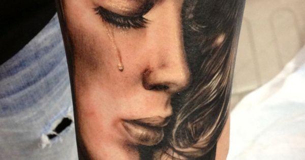 Crying Woman Portait Tattoo