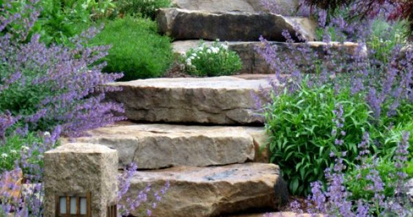 Garden stairs. Thick stone steps
