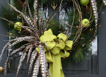 Holiday Wreath with Green Apples and Pheasant Feathers