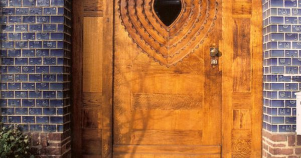 Blue House in Darmstadt, Germany - hand-carved wooden door