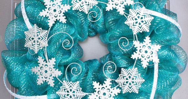 Winter Wreath Mesh Winter Wreath Turquoise Wreath for Christmas 2014, loving this