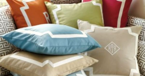 Throw Pillows Ballard Design : Monroe Bordered Pillows Ballard Designs - ordered this in Taupe with our monogram for our new ...