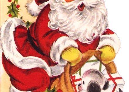 Vintage Christmas Card Santa Claus Puppy Toys. $3.00, via Etsy.
