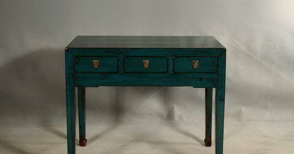 Console pupitre petit bureau desserte meuble chinois for Meuble cabinet chinois