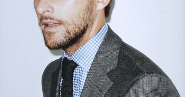 Grey suit light blue shirt blue tie