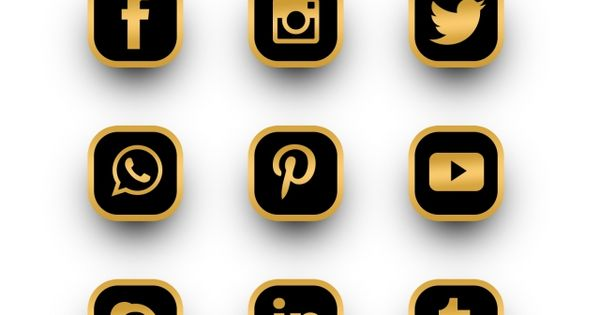 Luxury Gold Social Media Logos Icons Set Logo Clipart Social Media Social Media Icon Png Transparent Clipart Image And Psd File For Free Download Social Media Icons Media Icon Social Media Logos