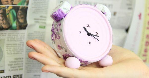 Reloj de escritorio manualidades con latas de at n manualidades pinterest diy y manualidades - Manualidades relojes infantiles ...