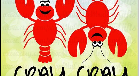 Crawfish Cray Cray Crayfish Designs Digital Clipart Instant Download Full Color Jpeg, Png, SVG ...