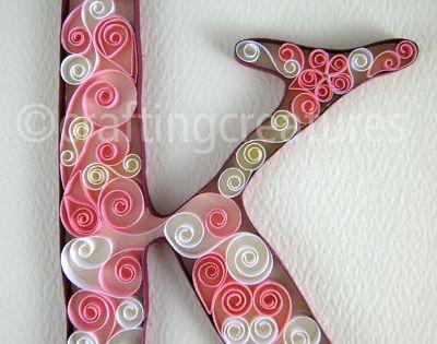 pink paper quilling monogram