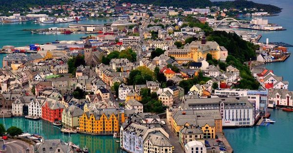 Alesund, Norway- bird's eye view of the City