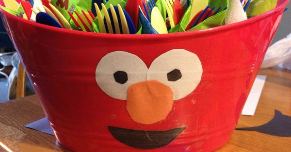 Diy Elmo Bowls From The Dollar Tree For Sesame Street