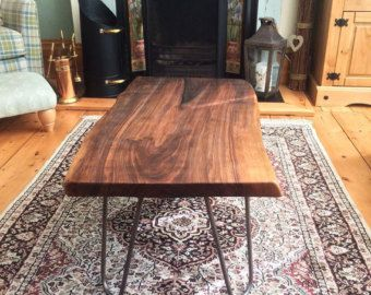 Walnut Slab Coffee Table With Cast Iron Hairpin Legs With Images Walnut Slab Coffee Table