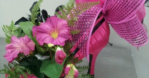 High heeled shoe centerpiece designs by vogts floral
