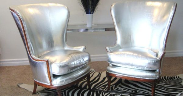 Vintage Hollywood Regency silver wing chairs