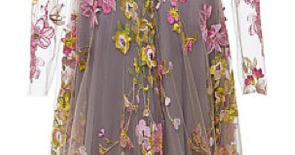 Naeem Khan Floral Embroidered Long Sleeve Gown ♔ SS 2015 jaglady. Just