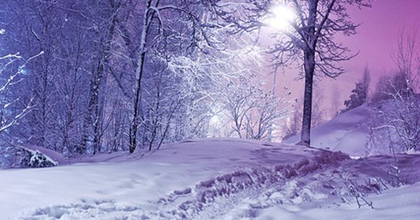 winter snow purple sky