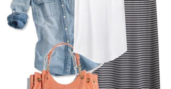 Spring Outfit, I NEED a light denim shirt, a striped maxi skirt,